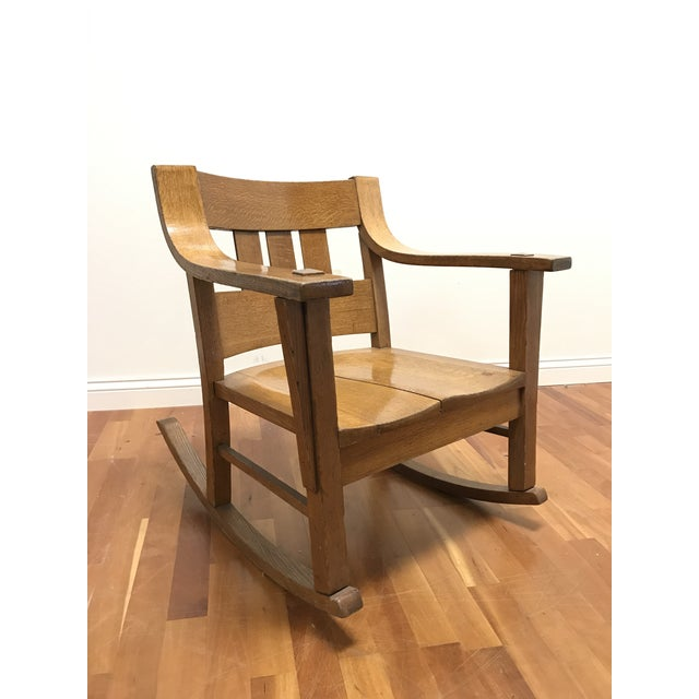 Mission Style Arts and Crafts Bentwood Quarter Sawn Oak Rocker For Sale - Image 11 of 11