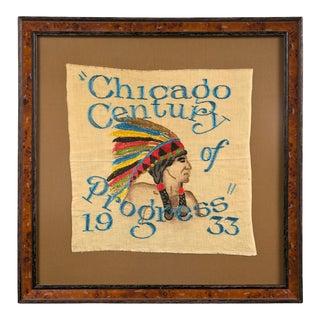 1933 Chicago World's Fair Century of Progress Framed Souvenir Tapestry For Sale
