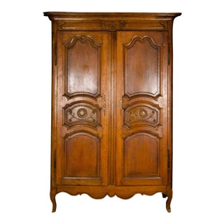 19th Century Louis XV Antique French Carved Armoire For Sale