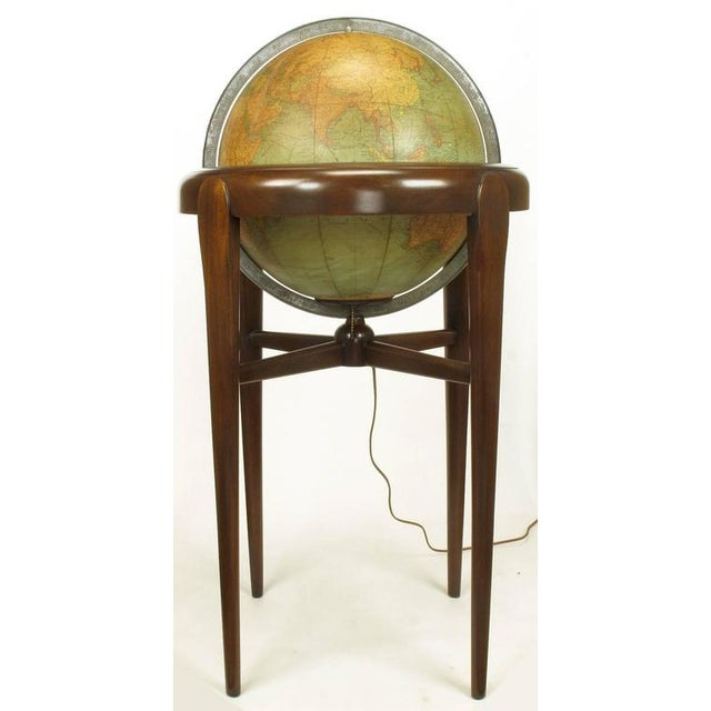 Replogle Illuminated Glass Globe on Mahogany Articulated Stand, circa 1940s - Image 6 of 10
