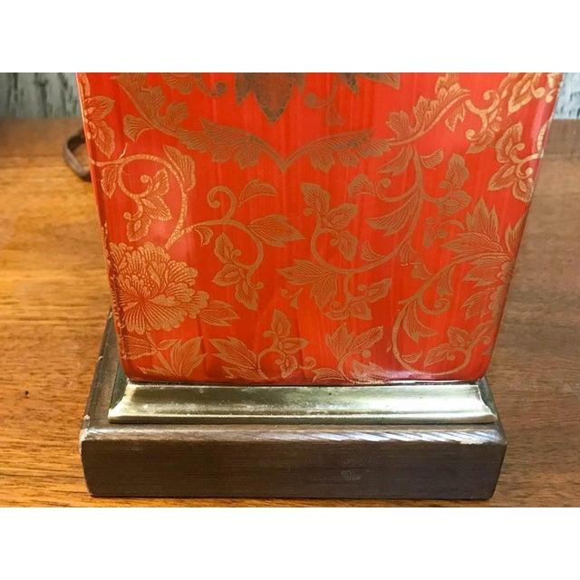 Vintage Orange and Gilt Floral Lamp - Image 5 of 5