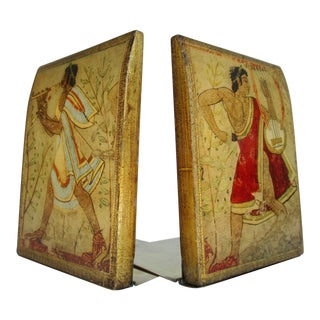 Vintage Italian Florentine Gilt Gold & Brass Bookends - a Pair For Sale