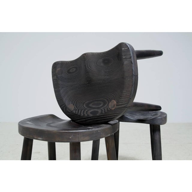 Studio Stools in Blackened Wood by Robert Roakes, USA, 1970s - Image 5 of 6