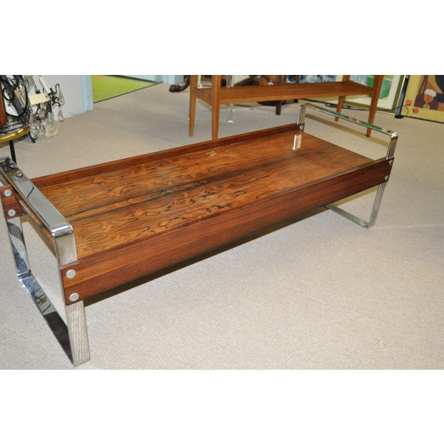 Vintage 1970's Rosewood & Chrome Coffee Table - Image 3 of 4