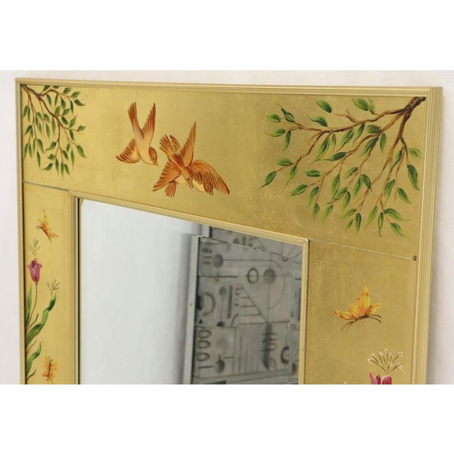 Reverse Painted Gold Leaf Rectangular Frame Decorative Mirro For Sale - Image 10 of 13