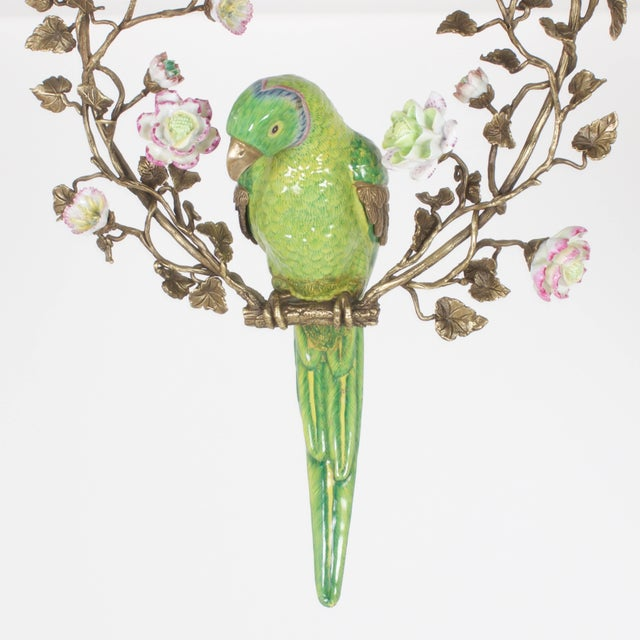 French Opposing Wall-Mounted Porcelain Parrots - a Pair For Sale - Image 4 of 10