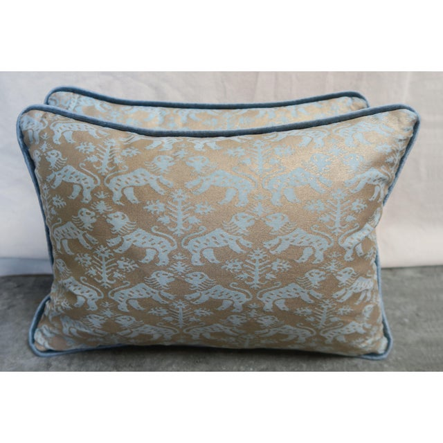 Pair of custom pillows made with aquamarine & silvery gold Mariano Fortuny Egyptian cotton fronts and blue linen velvet...