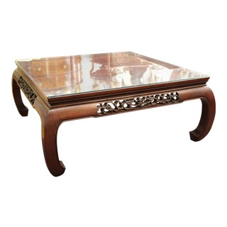 Modern Asian Style Square Coffee Table in Wood with Glass Top For Sale