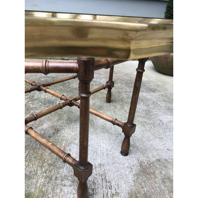 Asian 20th Century Chinoiserie Style Glass & Brass Cocktail Tray Table For Sale - Image 3 of 13
