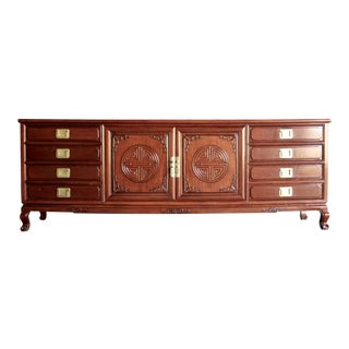 Chinoiserie Rosewood Credenza With Brass Pulls For Sale
