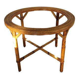 Vintage Mid Century Hollywood Regency Reed Bamboo Table For Sale