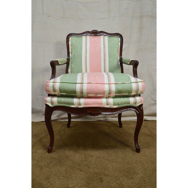 Oak French Louis XV Style Custom Quality Fauteuil Arm Chair For Sale - Image 7 of 13