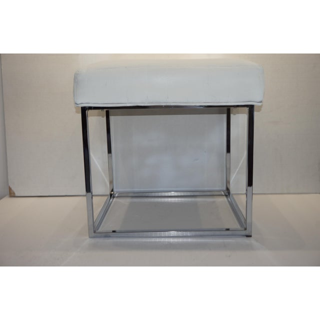 1970s 1970s Mid Century Modern Milo Baughman for Design Institute of America Cube Chrome Ottoman For Sale - Image 5 of 8