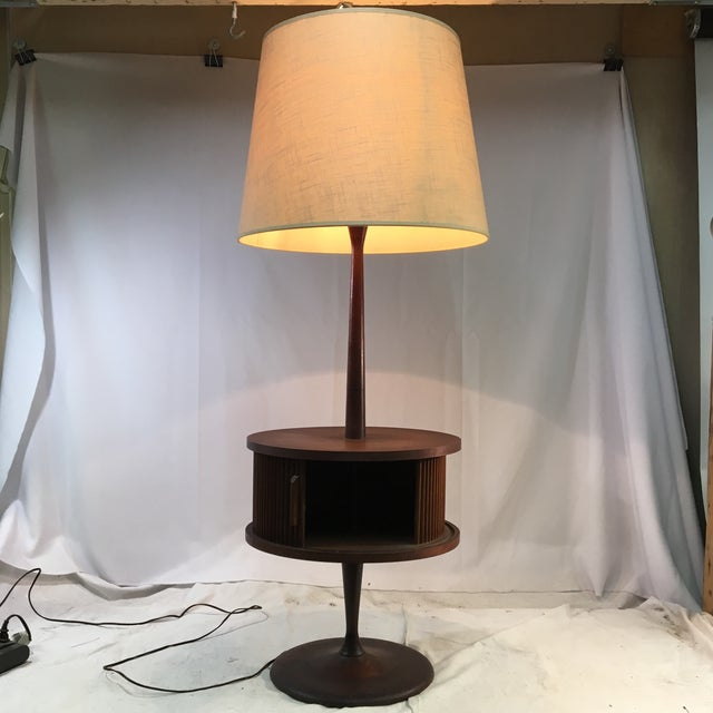 Vintage Mid-Century Leviton Wooden Floor Lamp With Tray Table and Sliding Compartment For Sale - Image 9 of 13