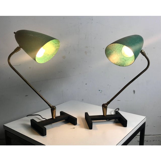 Brass Matching Modernist Task Desk Lamps Fiberglass Shades, France - A Pair For Sale - Image 7 of 10