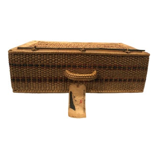 Vintage Rattan Suitcase with Handle, 1950s For Sale