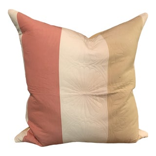 Boho Chic Pillow in Pierre Frey Pink and Cream Stripes For Sale