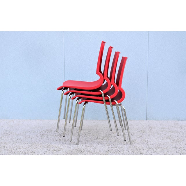 Italian Modern Marco Maran for Maxdesign Red Ricciolina Dining Chairs - Set of 6 For Sale - Image 12 of 13