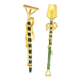 Karl Lagerfeld Gilt & Enamel Rake & Spade Brooches For Sale