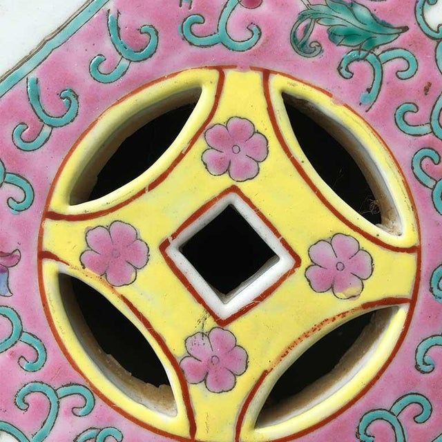 Pastel 1960s Chinoiserie Chinese Famille Rose Pink Yellow Ceramic Garden Seat Stool For Sale - Image 7 of 10