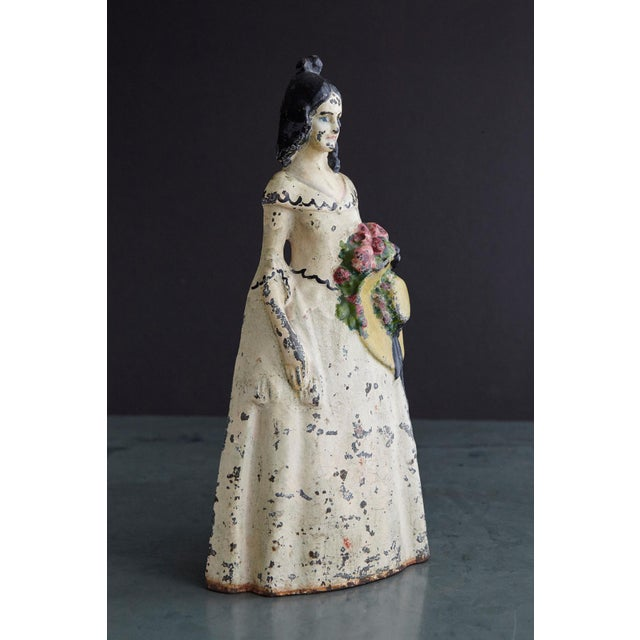 Rustic 19th Century Cast Iron Hand Painted Polychrome Woman With Straw Hat Doorstop For Sale - Image 3 of 9