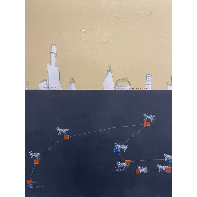 """Contemporary """"Alpha Cow"""" Contemporary Minimalist Abstract Acrylic Painting on Canvas For Sale - Image 3 of 7"""