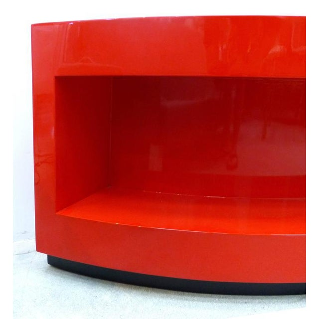 Wood Art Deco Curved Red Lacquer Bookcase by Paul Laszlo For Sale - Image 7 of 9