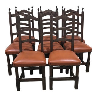 Vintage French Ladder Back Chairs With Orange Leather Seats - Set of 8 For Sale