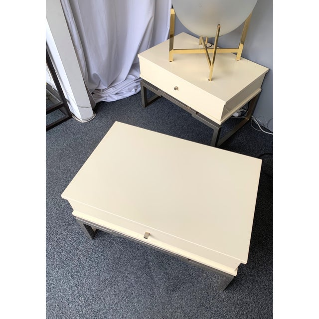 1970s Pair of Lacquered and Metal Chrome Side Tables by Mario Sabot. Italy, 1970s For Sale - Image 5 of 13