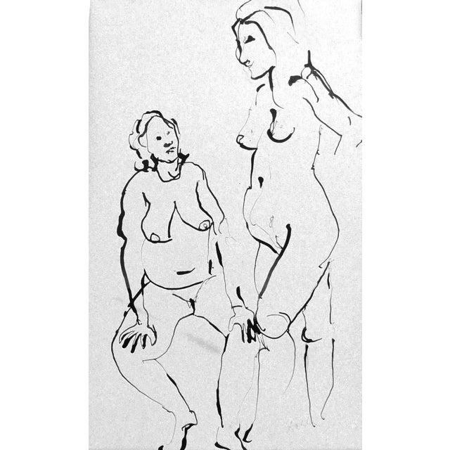 The Conversation Ink Drawing - Image 2 of 7
