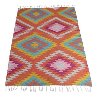 Rainbow Flat Weave Diamond Turkish Wool Kilim Rug - 4' X 6' For Sale