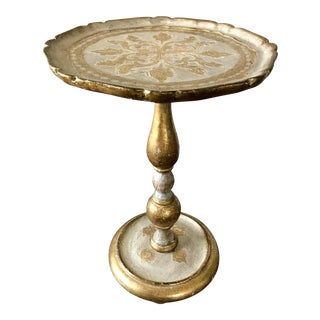 Vintage Florentine Gilt Wood Pedestal Table For Sale