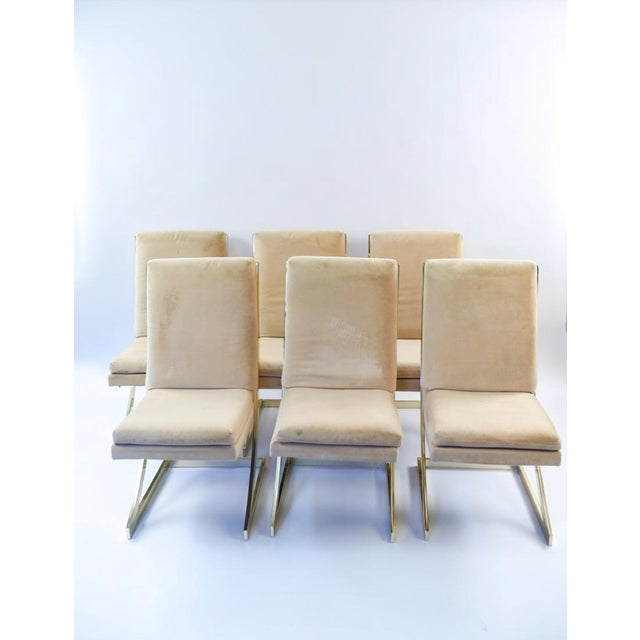 Classic Brass 1970's Vintage Milo Baughman Dining Chairs in the Cantilever style with light tan upholstery. Set of 6 Chairs.
