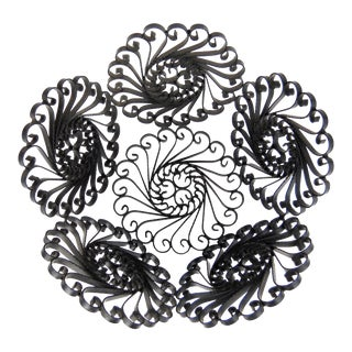 Wrought Iron Floral Basket For Sale