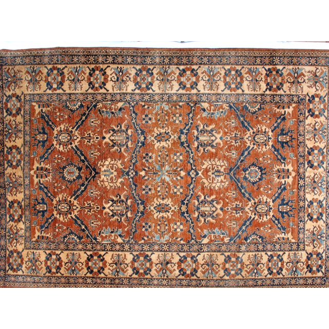 Wool pile hand made rust Super kazak carpet in mint condition.
