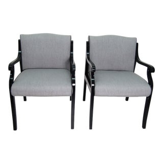 1980s Vintage Paulo Reupholstered Gray Armchairs- A Pair For Sale