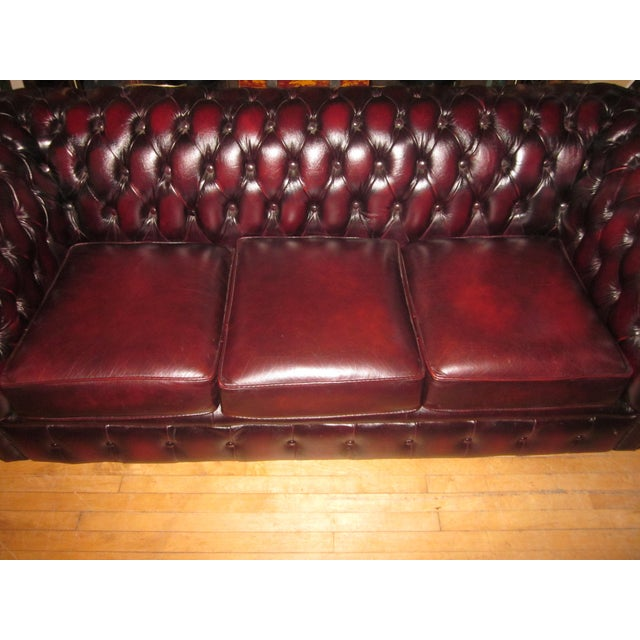 Vintage 20th Century Oxblood Burgundy Classic Tufted English Chesterfield Sofa For Sale In Chicago - Image 6 of 11