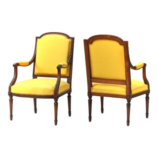 Louis XVI Fruitwood & Yellow Bergeres - A Pair For Sale