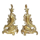 Image of French Gilt Rococo Andirons - a Pair For Sale