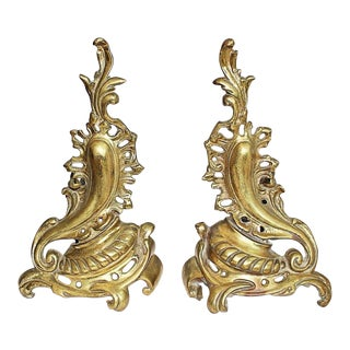 French Gilt Rococo Andirons - a Pair For Sale