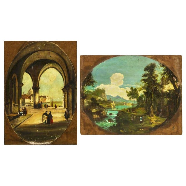 Venice Scene Featuring Architecture and Summer Landscape Paintings on Board, Unframed - a Pair For Sale - Image 11 of 11