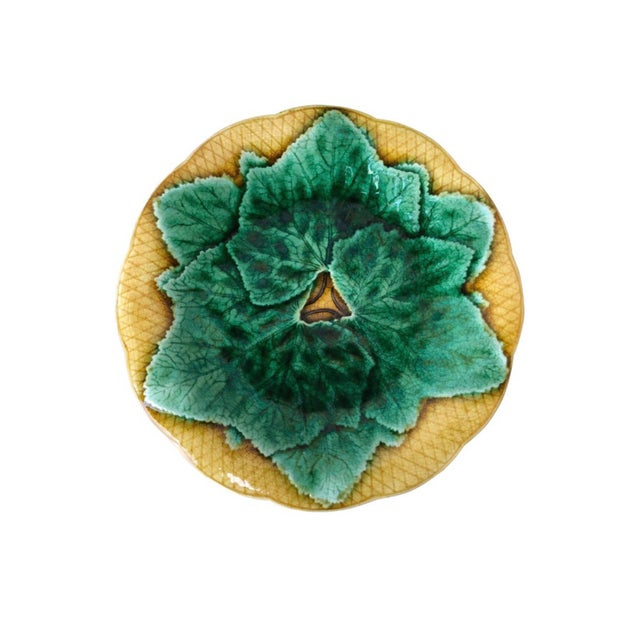 Gien French Majolica Leaves Plate Gien, Circa 1880 For Sale - Image 4 of 4