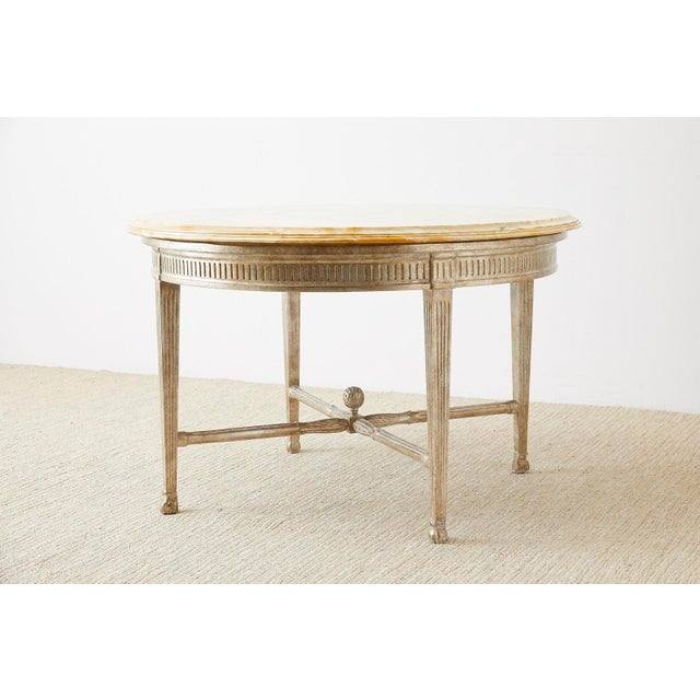 Neoclassical Neoclassical Style Silver Gilt Marble-Top Center Table For Sale - Image 3 of 13