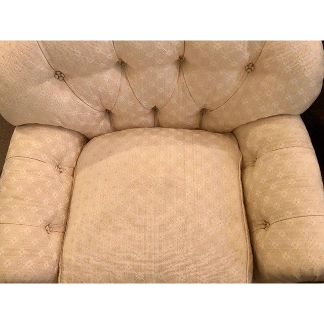 Late 20th Century Pair of Lined and Pleated Spectacular Overstuffed Boudoir or Lounge Chairs For Sale - Image 5 of 13
