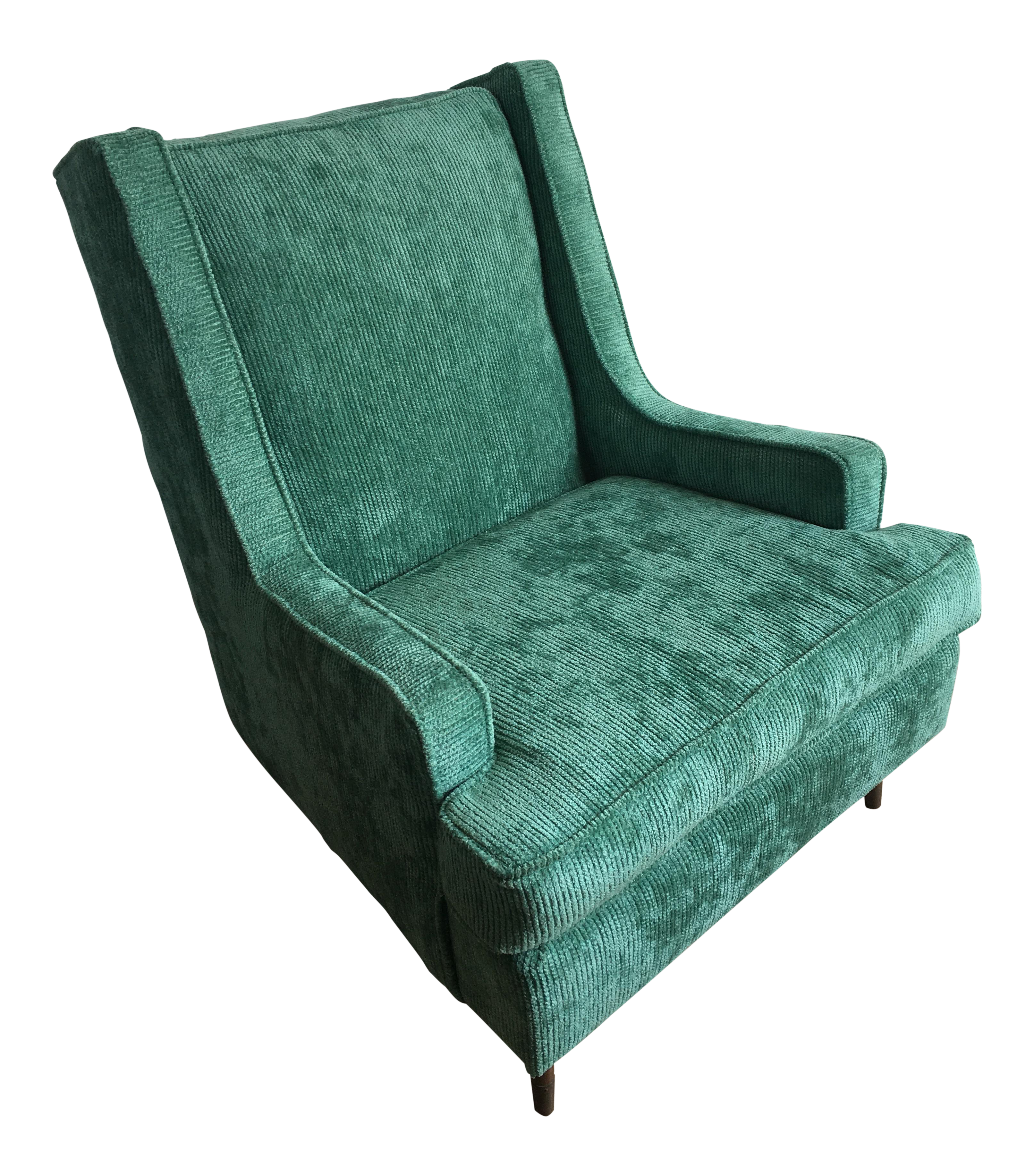 Vintage Mid Century Modern Upholstered Accent Chair With Tapered