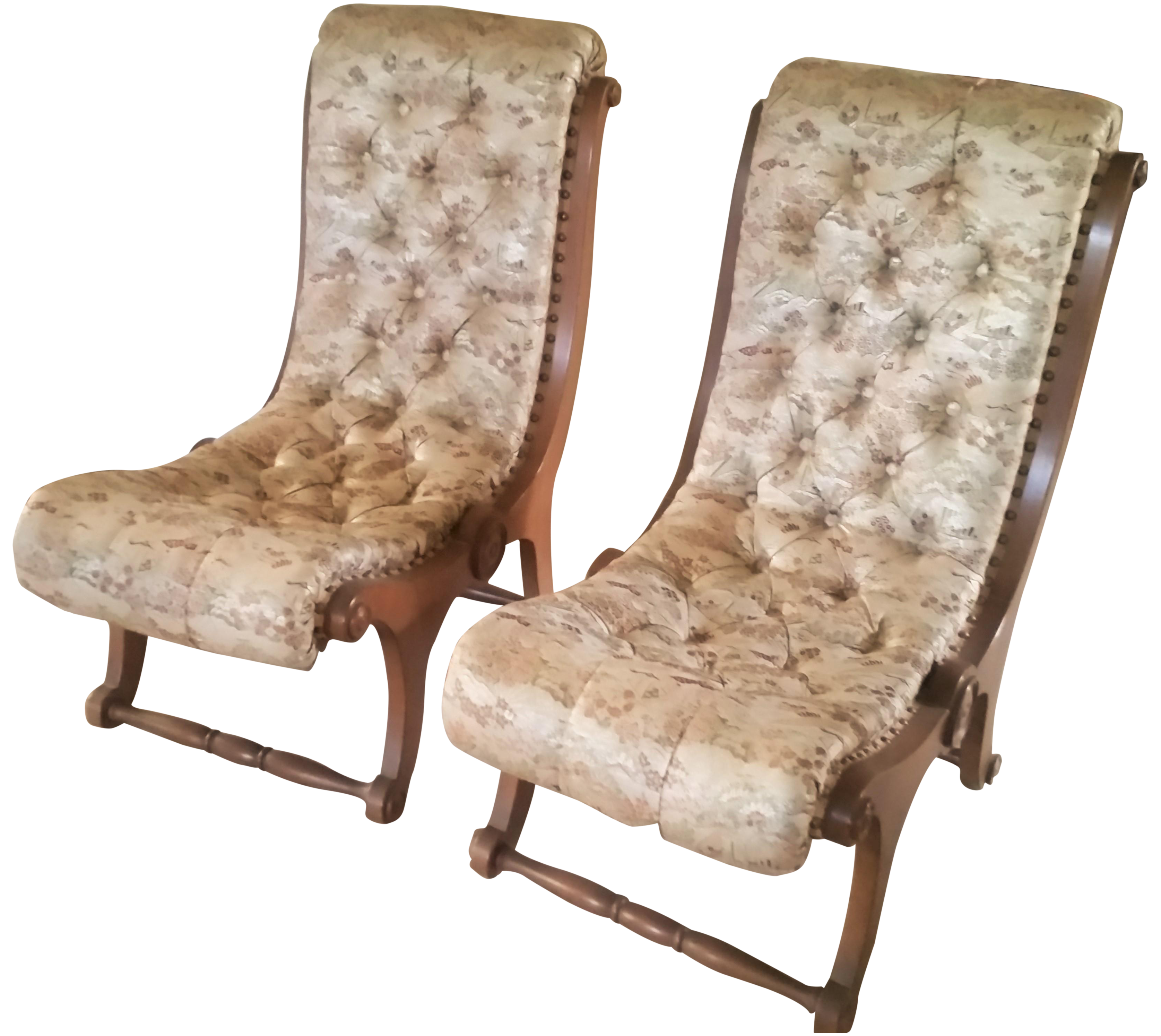Mid Century Japanese Obi Silk Chairs   A Pair   Image 1 Of 7