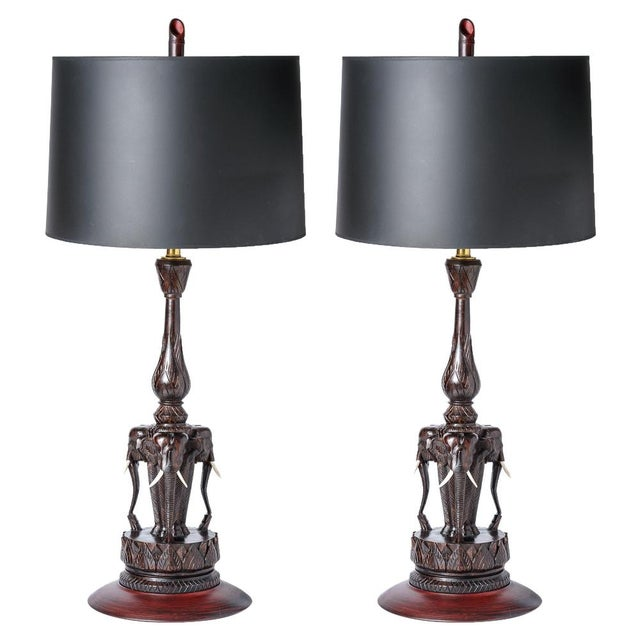 Anglo Indian Hand Carved Wood Elephant Lamps, A-Pair For Sale - Image 10 of 10