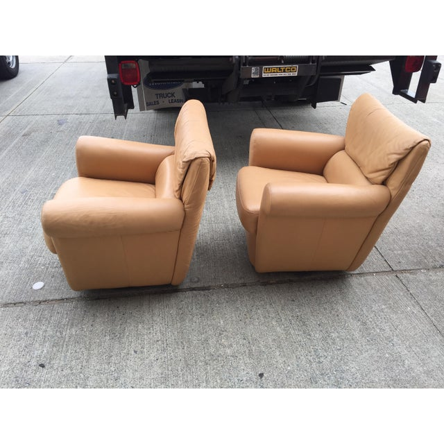 Italian Vintage Leather Club Chairs a Pair For Sale - Image 3 of 8