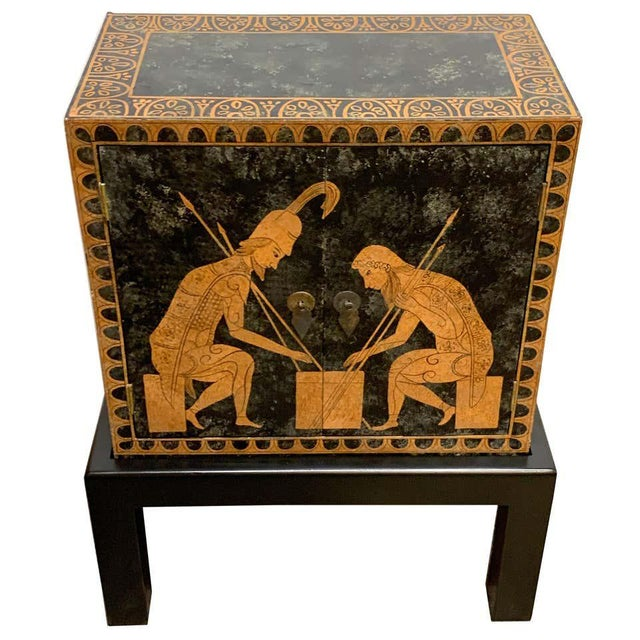 Grand Tour Style Polychromed Greek Motif Cabinet on Stand For Sale - Image 13 of 13