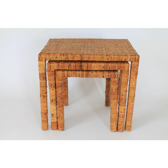 Wood Boho Rattan Wrapped Nesting Tables S/3 For Sale - Image 7 of 10